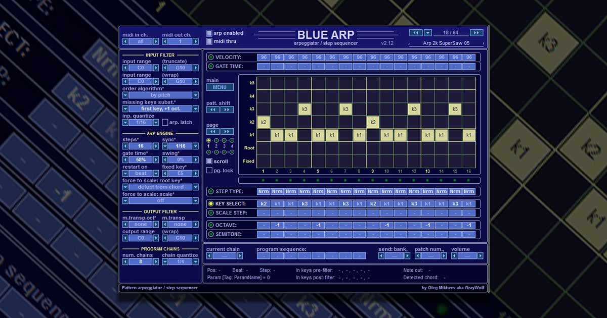 Download Blue Arp - A Free Midi Arpeggiator Plugin For PC And Mac Now