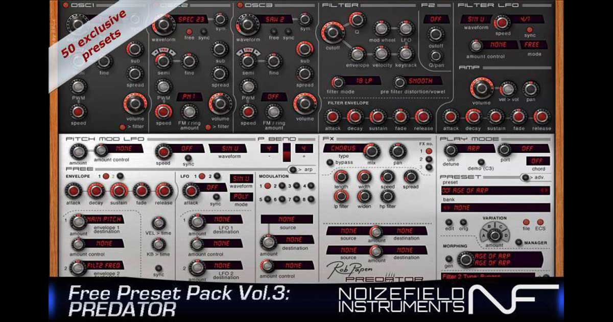 Free Presets For Predator VST Synth By Noizefield