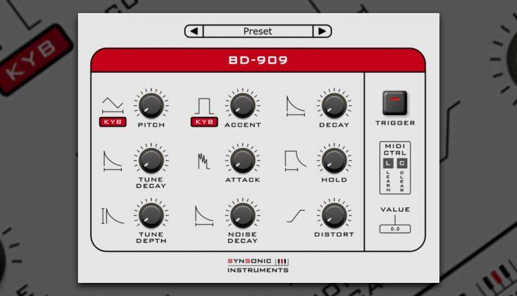 Synsonic BD-909   Free TR-909 VST Kick Drum Plugin For PC & Mac